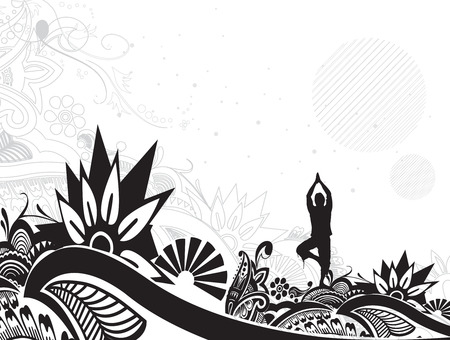 body silhouette: A young man doing yoga vector silhouette in floral pattern background , vector illustration