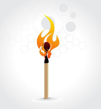 lucifers: Brandende wed strijd stick op een witte retro cirkel achtergrond, vector illustratie   Stock Illustratie