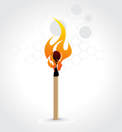 Burning match stick on a white retro circle background, vector illustration