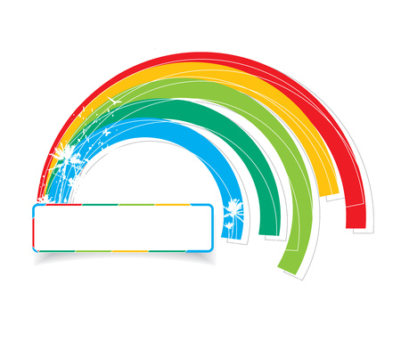 multicolored rainbow with banner design, illustration Stock Vector - 6633300