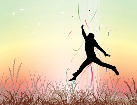 silhouette of young man jumping on the field, All elements are individual objects and no mesh and no flattened transparencies. Vector