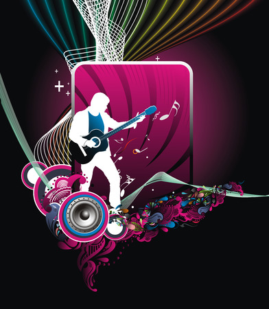 flattened: silhouette of music men with music wave line,  Illustration, no mesh and no flattened transparencies