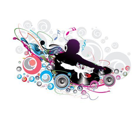 musica electronica: Ilustraci�n vectorial abstracta de un hombre de dj tocando melod�as con musis nota backgroud.