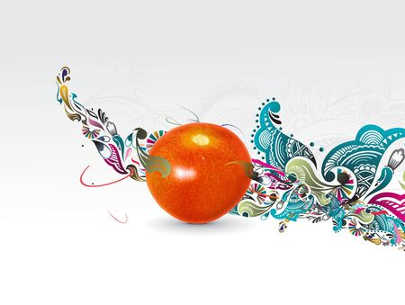Fresh tomato woth floral wave line background, vector illustration Stock Vector - 6691158