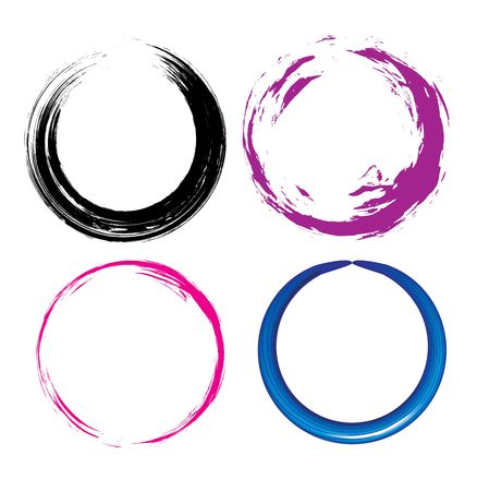 four different Grunge circle with place for your text. vector illustration