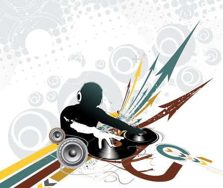 Abstract vector illustration of an dj man playing tunes with musis note backgroud.