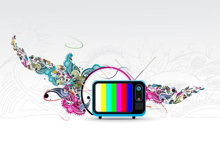Retro television with flotal grunge music theme, vector illustration Stock Vector - 6691087