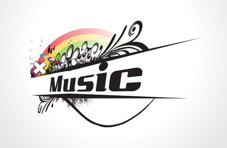 Abstract vector illustration of an playing tunes with musis note backgroud. Vector