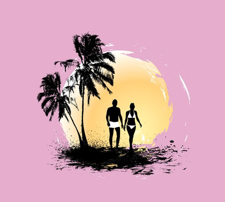 couple beach sunset: silhouette of young couple having fun summer holiday, vector illustration, No mesh in this Vector