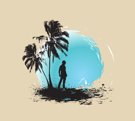 silhouette of young man having fun summer holiday background, vector illustration, No mesh in this Vector  Vector