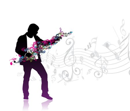 silhouetted a man enjoy music in music note wave background, vector illustration Vector