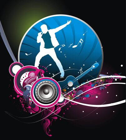silhouetted a young man Performer the music with music theme background. Vector Illustration.No mesh in this Vector    Vector
