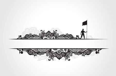 A young man holding a black flag with space of your text banner, vector illustration