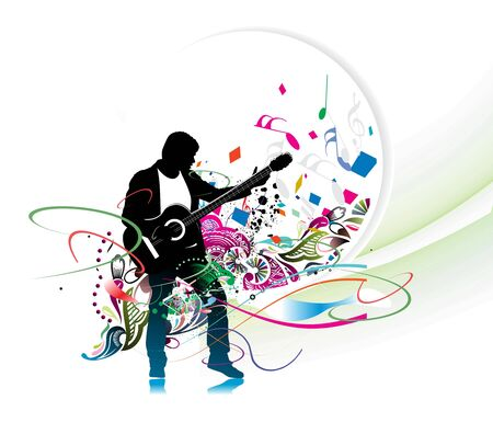 flying man: silhouette music men play a guitar with color wave line background, Vector Illustration, no mesh in this vector