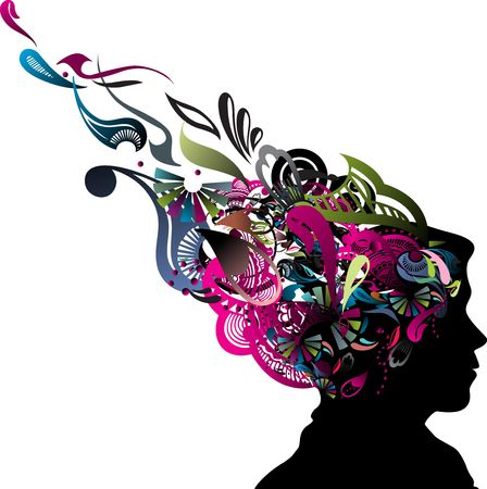 brain mysteries: illustration of human head silhouette with swirl floral design, vector illustration
