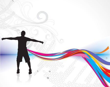 silhouette of man raising his hands with rainbow wave line background, vector illustration, no mesh in this vector   Vector