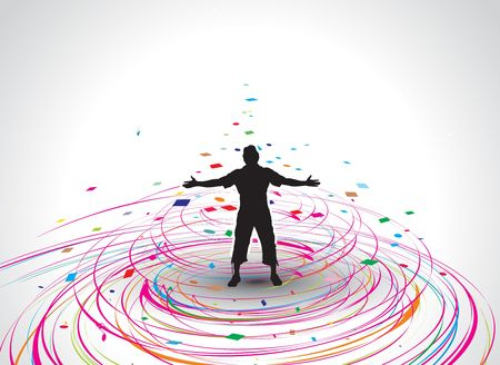 outstretched:  A young man raising his hands vector silhouette in rainbow mosaic wave line , vector illustration