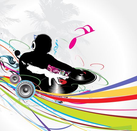backgroud: Abstract vector illustration of an dj man playing tunes with musis note backgroud. Illustration