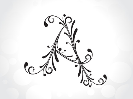 decorative letter with floral design, vector illustration Vector