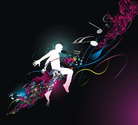 silhouette of dancing man with color wave line background, Vector Illustration, No mesh in this Vector  Vector