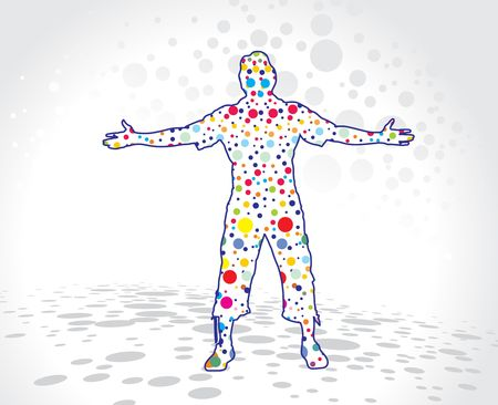 arm raised: A young man raising his hands with white retro circle background, vector illustration.