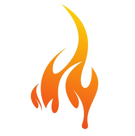 abstract fire icon with white background, vector illustration  Çizim