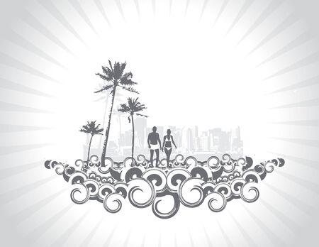 chica surf: silueta de la joven pareja que se divierten en segundo plano urbano de vacaciones de verano, ilustraci�n, sin malla en este vector de vectores   Vectores