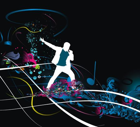 pop musician: Silhouettes of  of Rock man and sings into the mic wave line, vector illustration