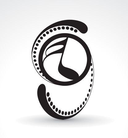 pentagramma musicale: Note di musica astratta utilizzate nel progetto, illustrazione vettoriale   Vettoriali