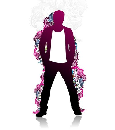 mature business man: silhouette of successful mature business man with floral design isolated on white background