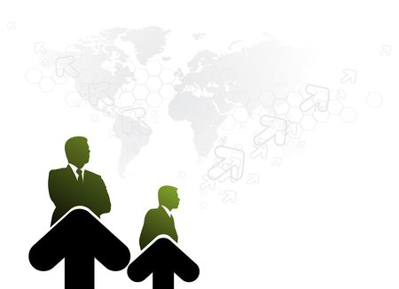 silhouette of businessman in the growth of arrow. Vector illustration. No mesh in this Vector  Vector