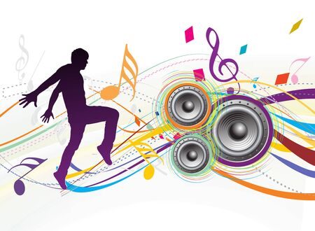 silhouetted a young man enjoy music in swirl wave background, vector illustration. No mesh in this Vector Illustration