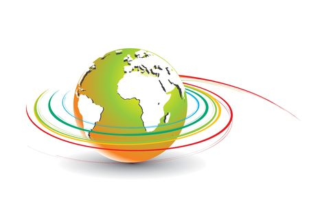 illustartion: Abstract illustration with swirl globe, vecto illustartion.  Illustration
