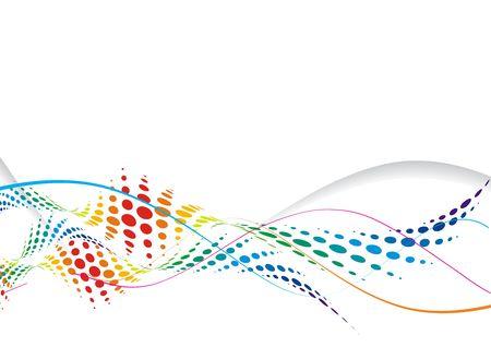 sample text: Abstract rainbow wave halftone line background, vector illustration.  Illustration