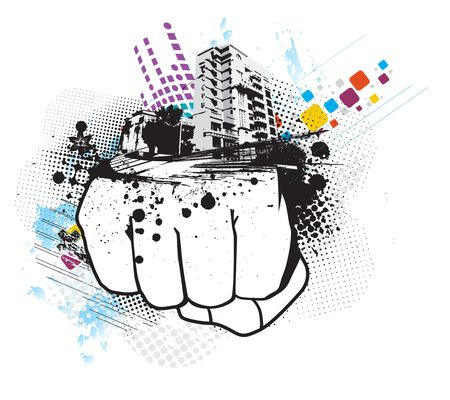 dirty house: grunge hand punch with urban city background Illustration