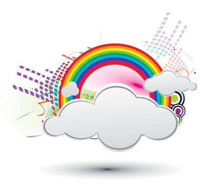Colorful design with clouds and rainbows Stock Vector - 6824845