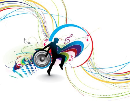 break dance: silhouetted a man dancing enjoy music in music wave background