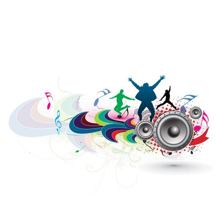 people having fun: silhouette of young people having fun with music theme background
