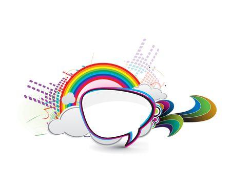 messenger window icon illustration isolated on rainbow background.   Vector