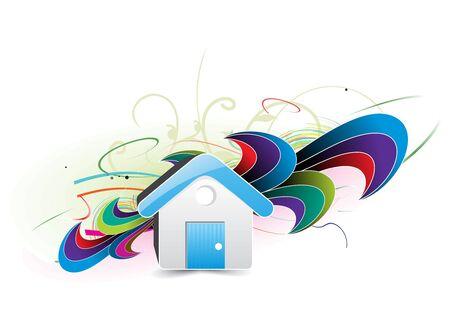 installateur: Een blauw huisje met abstracte Golf achtergrond