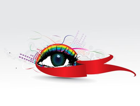 cary: colorful eye with abstract rainbow wave background Illustration