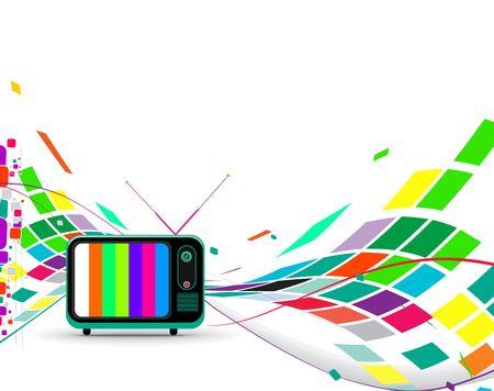 television antigua:  Televisi�n retro con fondo de onda de mosaico de onda