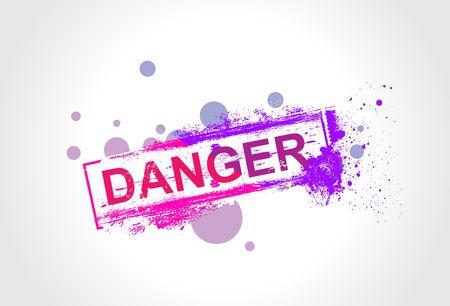 danger grunge tag with ink splat background,  illustration Stock Vector - 6872196