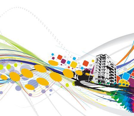 メトロポリス: 虹波線背景、イラストに抽象的なグランジ都市