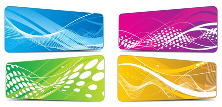 Abstract four different type color wave element backgrounds for design.  illustration  Vector