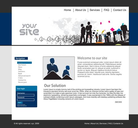 web template: abstract business web site design template, illustration.