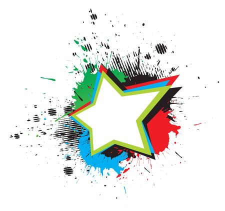 color grunge star &amp, wings on white background, illustration. Stock Vector - 7052847