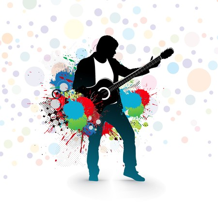silhouette music men play a guitar with color ink splat background,  Illustration, more background here.  Vector