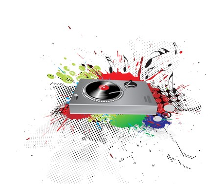 Turntable on grunge-rainbow ink spat background, illustration. Vector