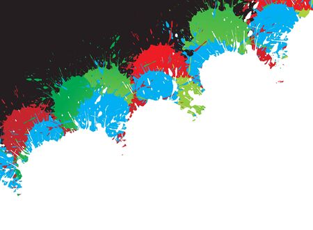 inky: Colorful bright ink splat design with a white background. illustration.